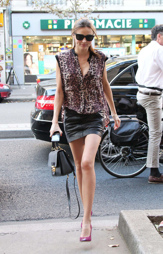 miranda kerr in an acne leather miniskirt look of the day