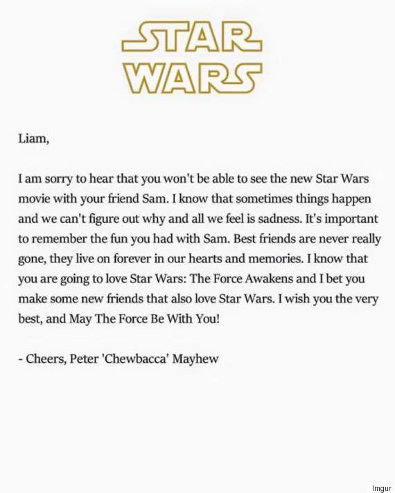 letter to my best friend who passed away chewbacca actor writes touching note to boy who lost his 19596