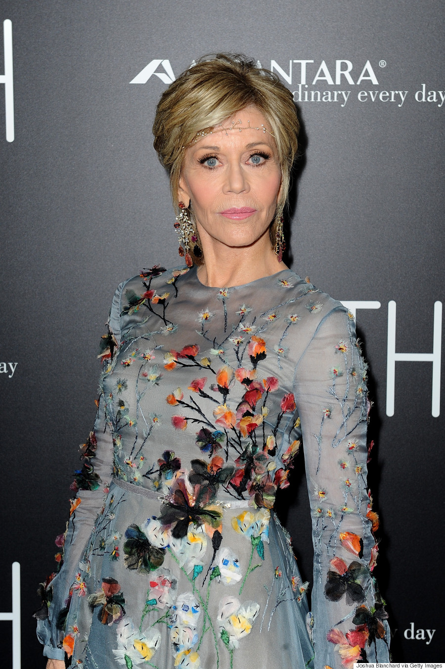 Jane Fonda Looks Incredible In Valentino And Delicate Headband On 'Youth' Red Carpet