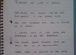Ce mari a noté tout ce qui a fait pleurer sa femme pendant un mois