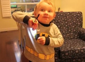 Mini Batman Flexing