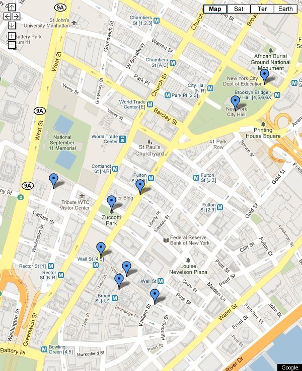 Wall Street Protests 300 Years Of Protests In Lower Manhattan – Manhattan Interactive Map
