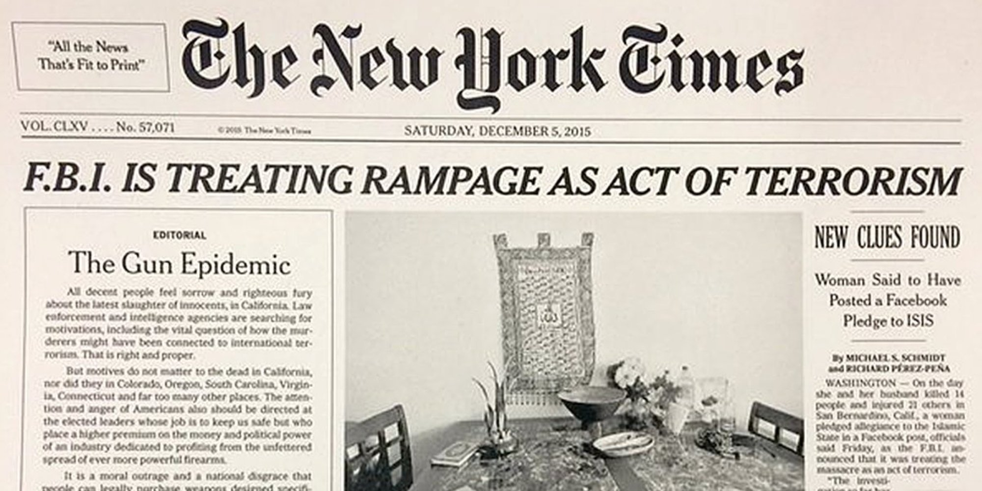 the new york times runs first front page leader since