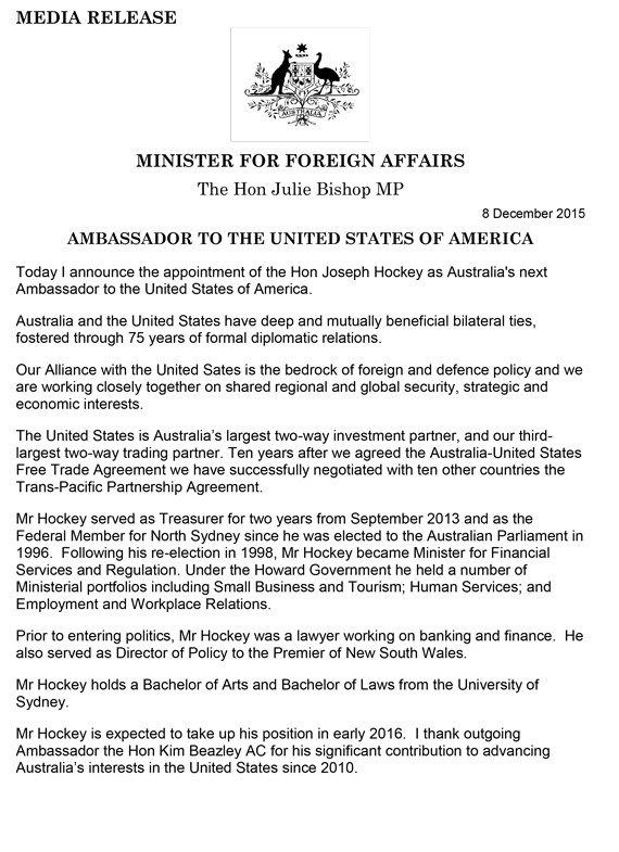 julie bishop joe hockey media release