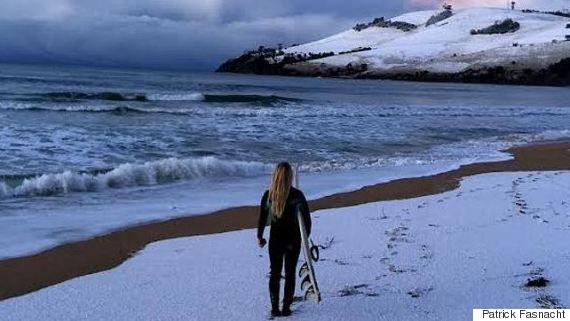 snow beach hobart