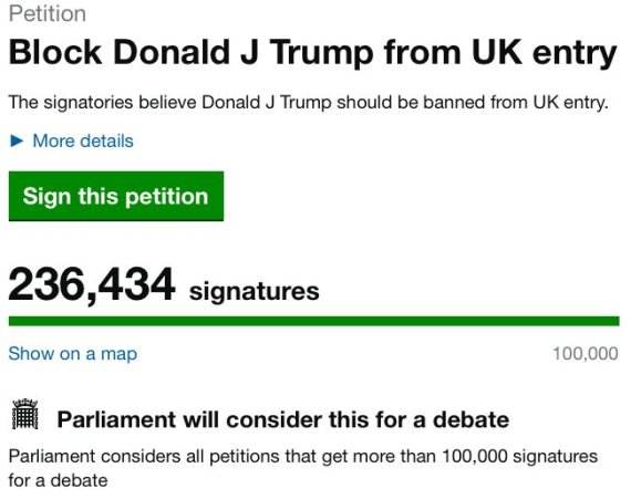 donald trump petition