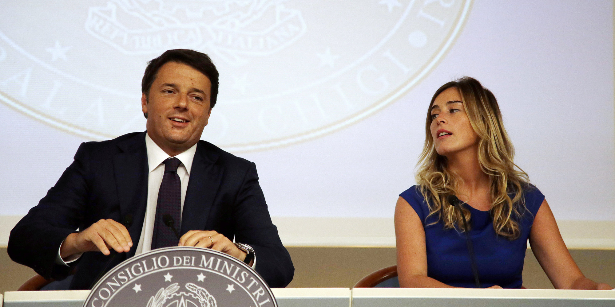 Renzi and his minister for the Constitutional reforms, Maria Elena Boschi.