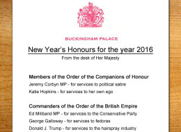 New Year's Honours List 2016 Exclusively Revealed By HuffPost UK Comedy
