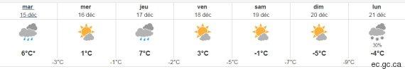 prévisions météo environnement canada