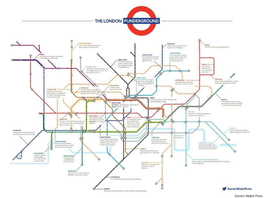 london punderground underground puns pun map
