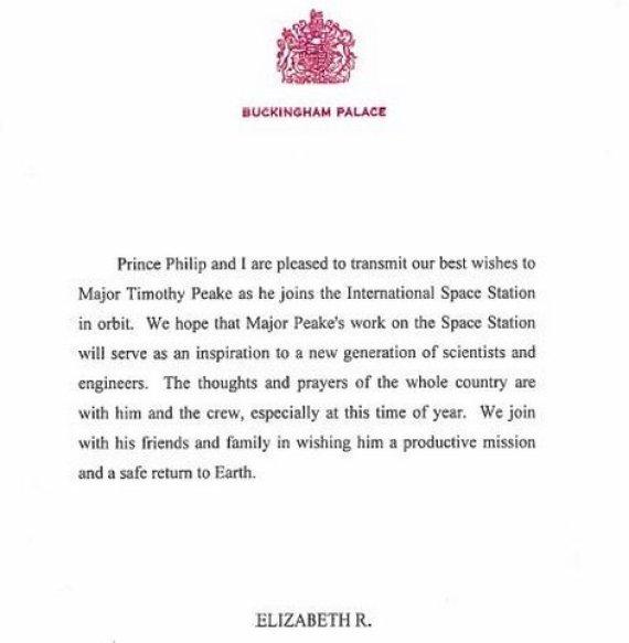 queen tim peake letter