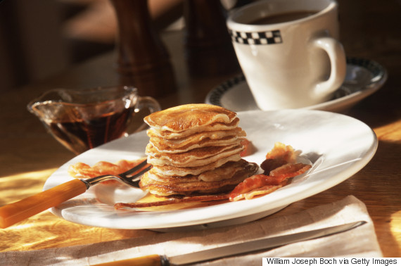 pancake bacon maple syrup