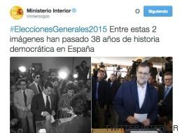 Interior la lía al sacar a Suárez y a Rajoy juntos en un tuit