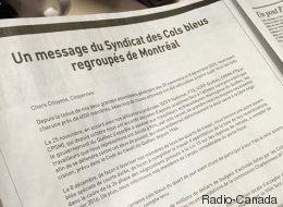 Les cols bleus se paient une page de publicité dans les quotidiens montréalais