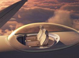 Le siège d'avion du futur avec vue panoramique sur le ciel