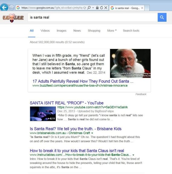 is santa real google search