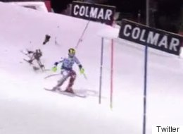 The Incredible Moment Drone Crashes Down Just Inches From World Cup Skiier