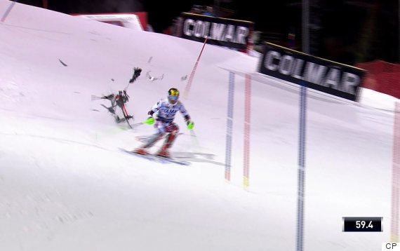 marcel hirscher apline ski drone crash