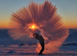 Junta aire congelado con té caliente... y tendrás esta increíble foto