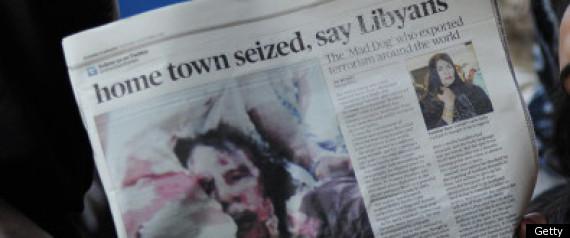 GADDAFI KILLED NEWSPAPERS