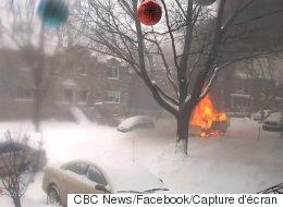 Une déneigeuse a pris feu dans les rues de Notre-Dâme-de-Grâce, à Montréal