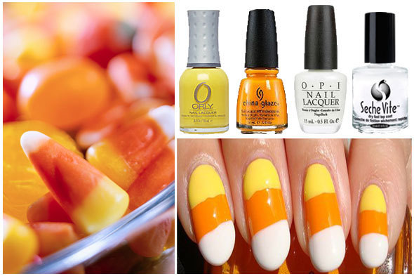 Candy Corn Inspired Nail Art Diy Huffpost