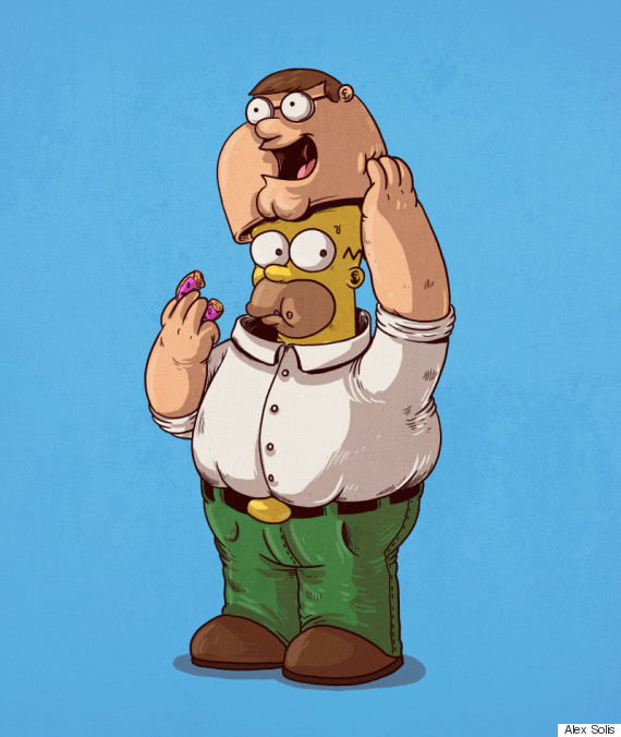 homer simpson as peter griffin