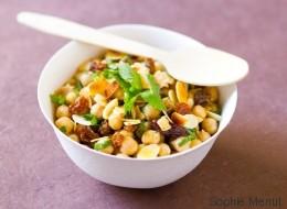 Vite fait, bien fait: salade de pois chiches et raisins secs à la menthe