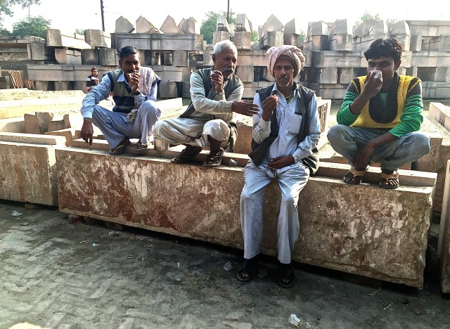 artisans for the ram temple on a tea break