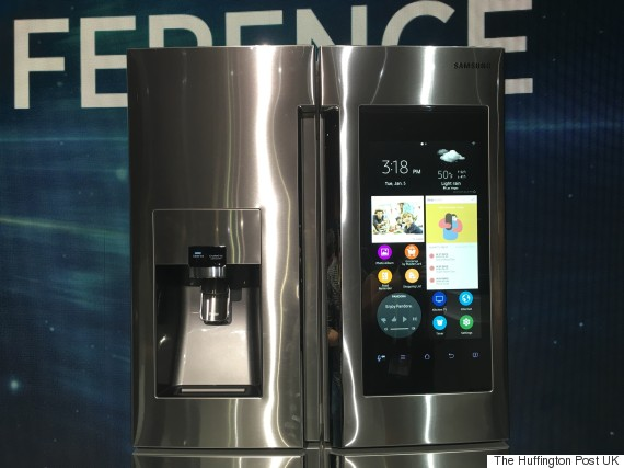 samsung 39 s family hub refrigerator has a massive 21 5 inch. Black Bedroom Furniture Sets. Home Design Ideas