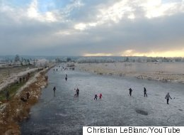 Skaters Enjoying A Frozen Surrey Pond Is Simply Lovely