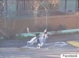 This Goalie On A Puddle Will Do Anything For Hockey