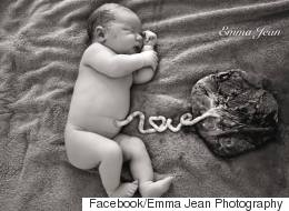Newborn Photographed With Attached Umbilical Cord Spelling Out 'Love'