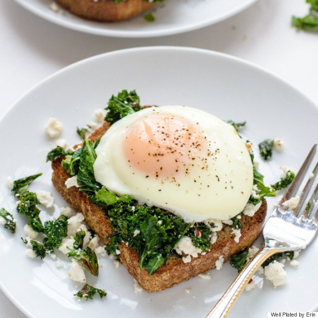 kale feta and egg toast
