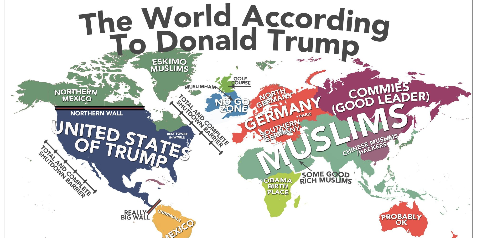 Map Of The World According To Donald Trump | HuffPost UK