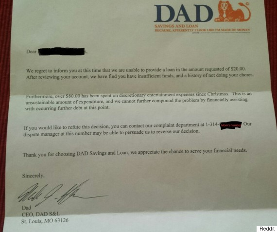 Dad Bank Letter: Six-Year-Old's Allowance Denied In Hilarious Way