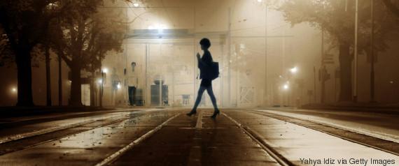 woman night street afraid