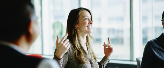 WOMAN OFFICE WORKER HAPPY
