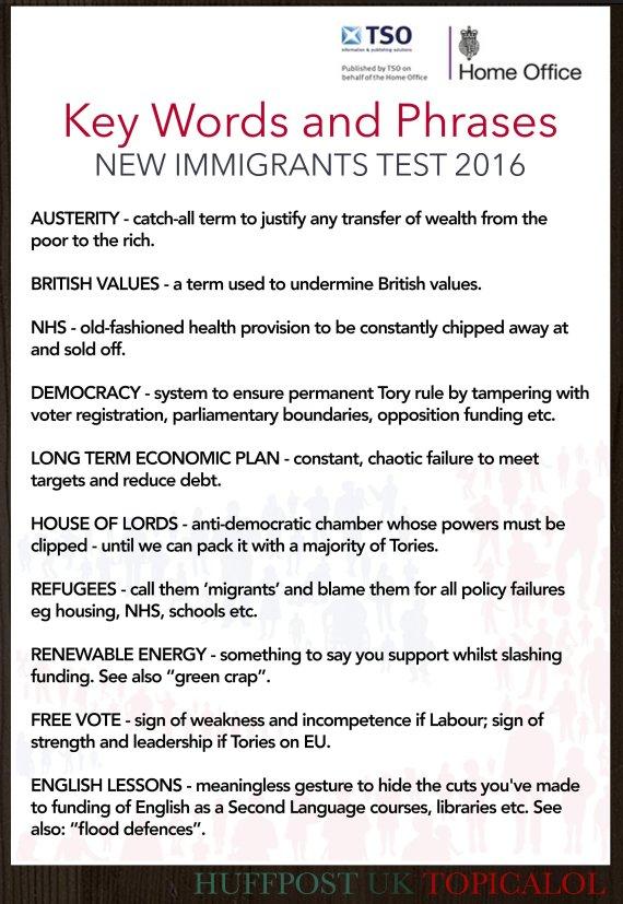 key words immigrant language test david cameron