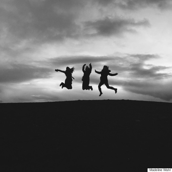 black and white jumping in air
