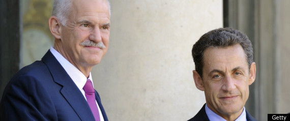 PAPANDREOU TALKS MERKEL SARKOZY