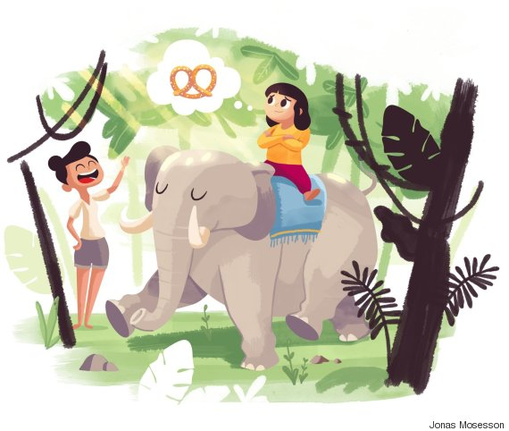 child riding elephant thinking of pretzels