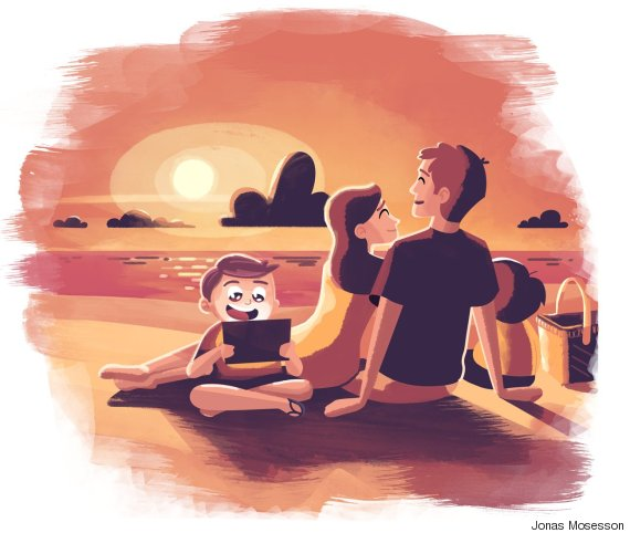 family watching sunset child on tablet