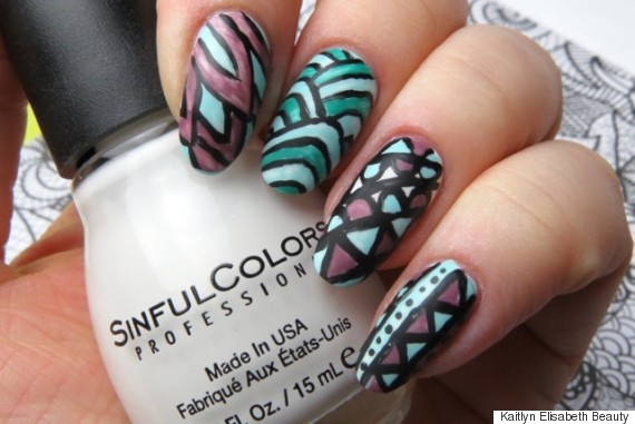 An adult colouring book inspired nail art design nail art prinsesfo Image collections