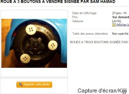 La «roue à trois boutons» de Sam Hamad en vente sur Kijiji