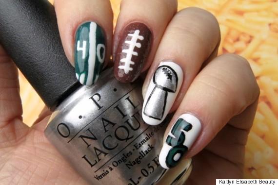 super bowl nail art