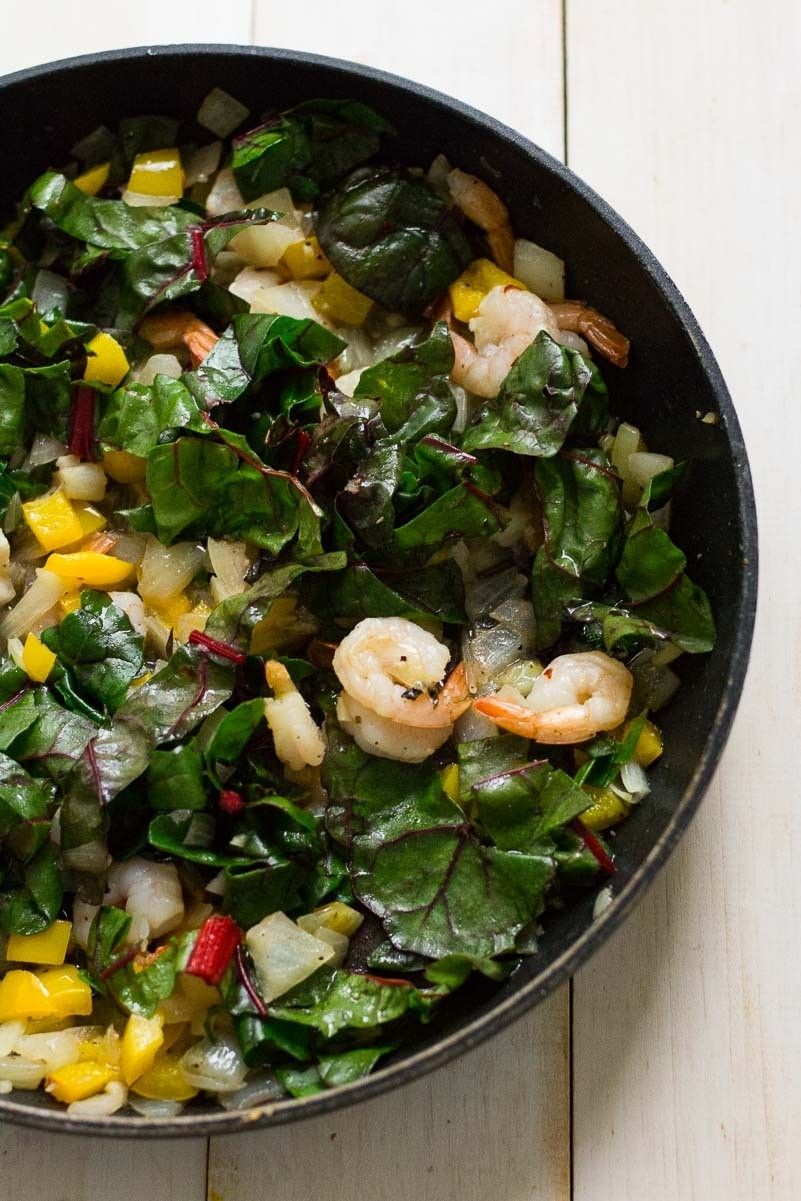 Add Swiss Chard And Red Peppers To The Shrimp Mixture, And Cook For About 1  To 2 Minutes, Or Until Chard Is Tender And Slightly Wilted