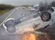 Horrific Moment Car Containing Baby Flips Over On Motorway