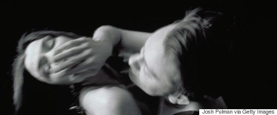 woman angry pushing man