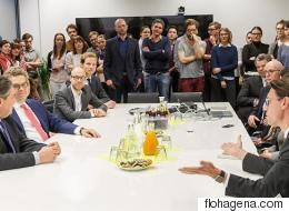 Vizekanzler Sigmar Gabriel besucht die Huffington Post